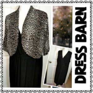 {Dressbarn} 2pc black & leopard print dress, sz 16